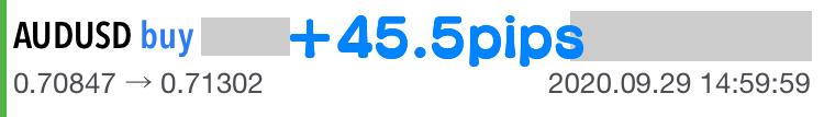 トレード結果、45.5pipsの獲得。