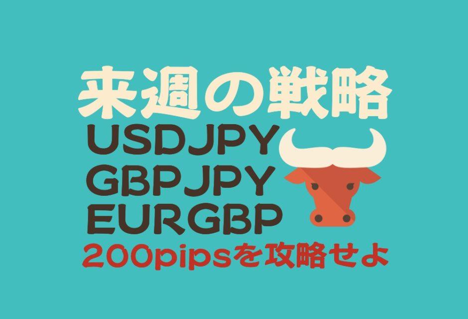 来週の戦略 ドル円 ポンド円 ユーロポンド 200pipsを攻略せよ